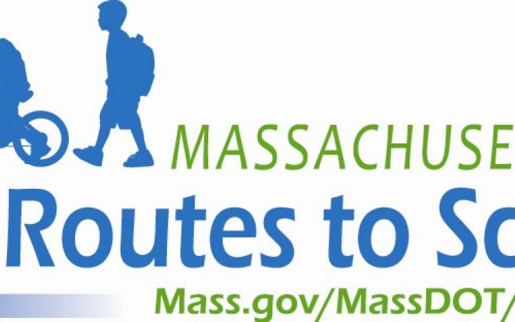Logo for Safe Routes to School Massachusetts with wheelchair user, biker, and walker
